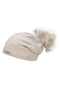 CAPO-WAVE CAP fake fur pompon, Swarovski crystals