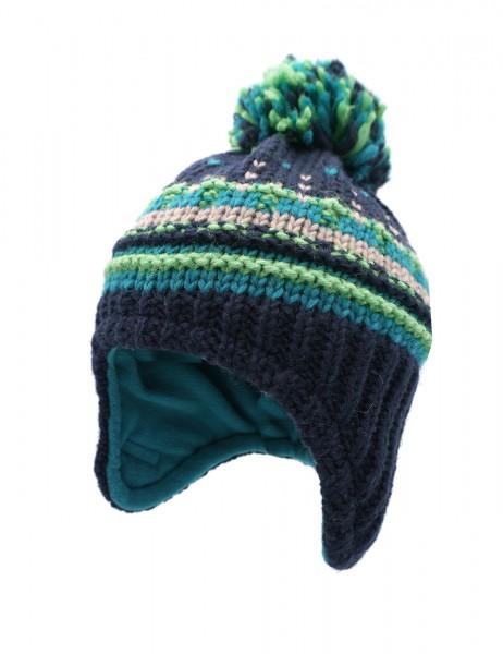 KIDS-Mütze ausgenäht Pompon, Strukturjacquard, Futter