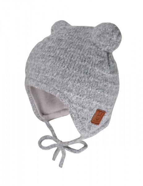 BABY-Mütze ausgenäht Struktur mit 2 Pompons