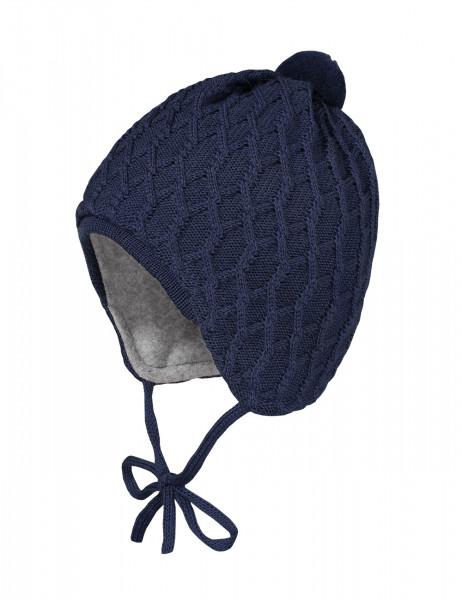 BABY-Mütze, Zopfstruktur ausgenäht, Blende, Pompon