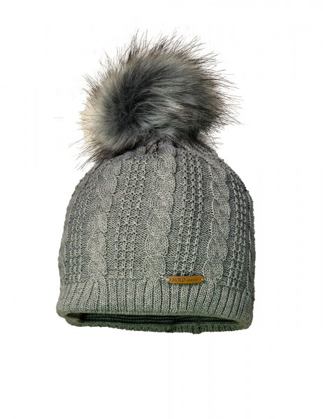 SINA-Mütze, randlos Zopfstruktur, fake fur Pompon, Futter