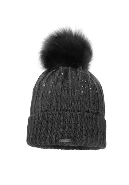 CAPO-CHANDO CAP fake fur pompon, rhinestones