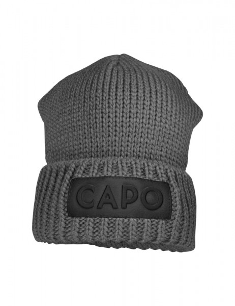 CAPO-COBY CAP knitted cap, ribbed turn up, logo patch