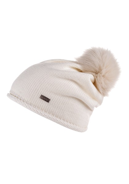 CAPO-LAM CAP cashmere touch, fake fur pompon