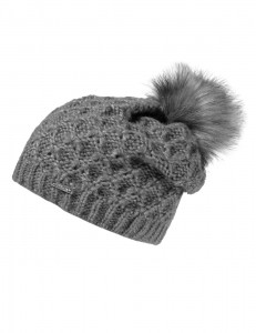 CAPO-GLAMOUR CAP, STRUCTURE fake fur pompon