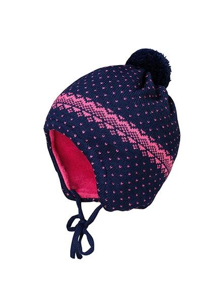 BABY-Mütze, ausgenäht, Futter Pünktchenjacquard, Minipompon