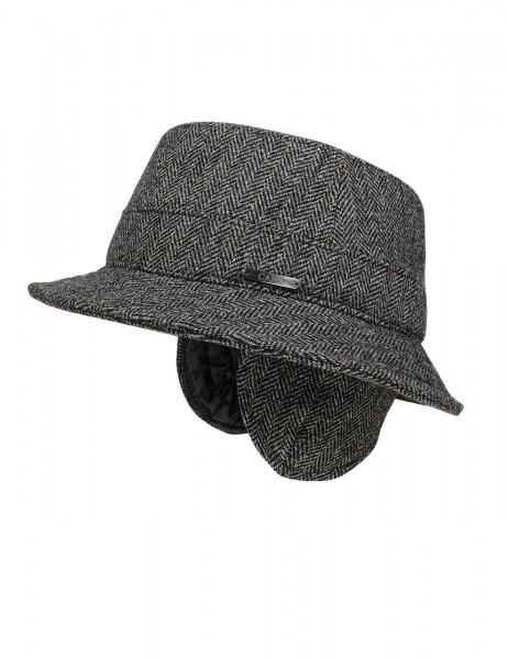 CAPO-UOMO HAT foldable earflaps, herringbone fabric