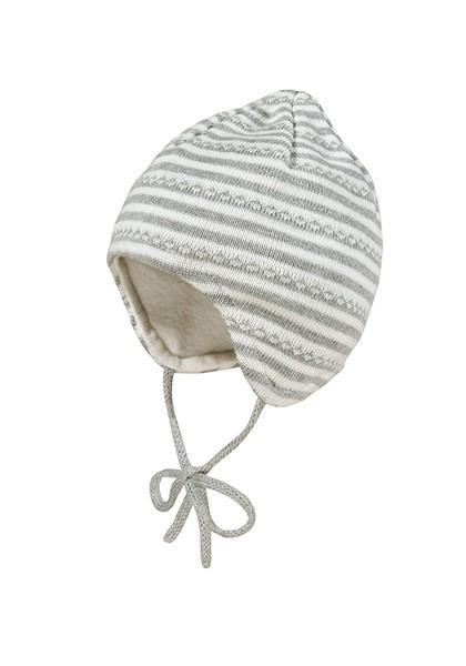 BABY-Mütze, ausgenäht kleine Spitze, 2-Farbringel mi