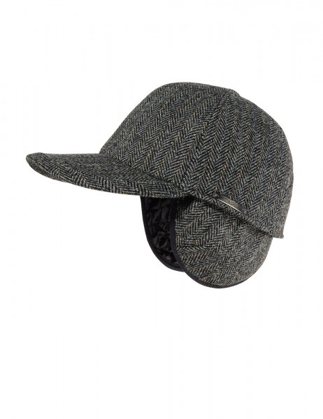 CAPO-UOMO CAP foldable earflaps, herringbone fabric