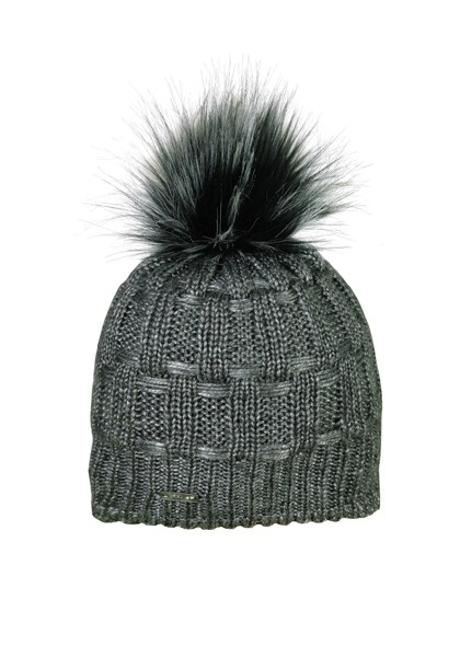 CAPO-FULL CAP fake fur pompon, fleece lining
