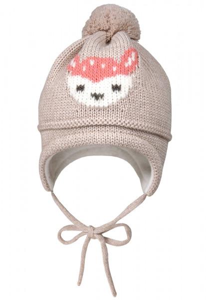 MINI GIRL-Mütze, Intarsia, Reh ausgenäht, Pompon