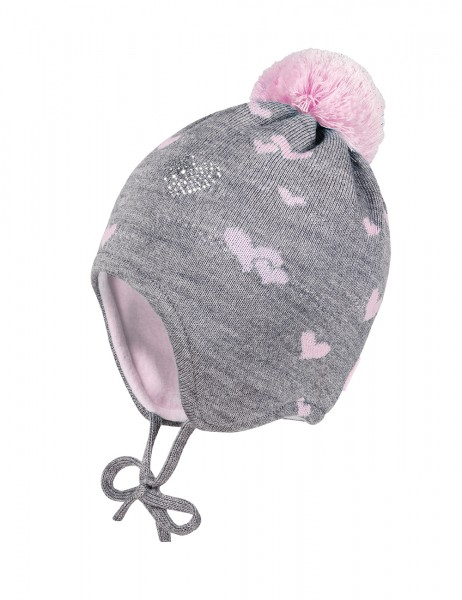 MINI GIRL-Mütze, ausgenäht Jacqu. Herz, Deko, Bindeband