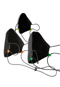 CAPO-MOUTH-NOSE-MASK-3 CORD BLACK, cord stopper, triple pack, without filter black 1sz.