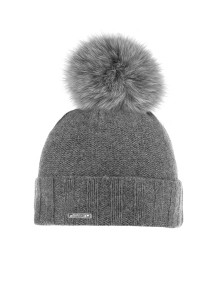 CAPO-ROLL UP CAP fake fur pompon