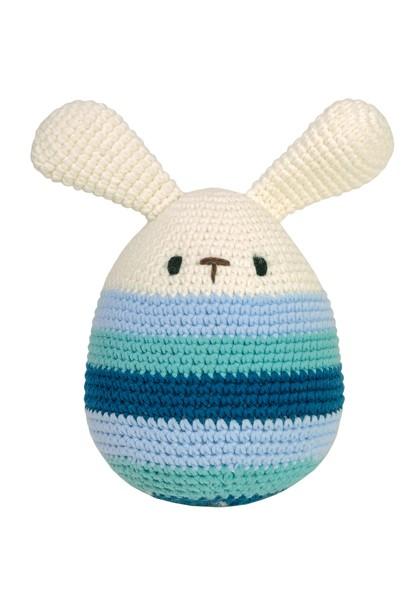 Häkel-Ei, groß, mit Ohren mit Schwanz